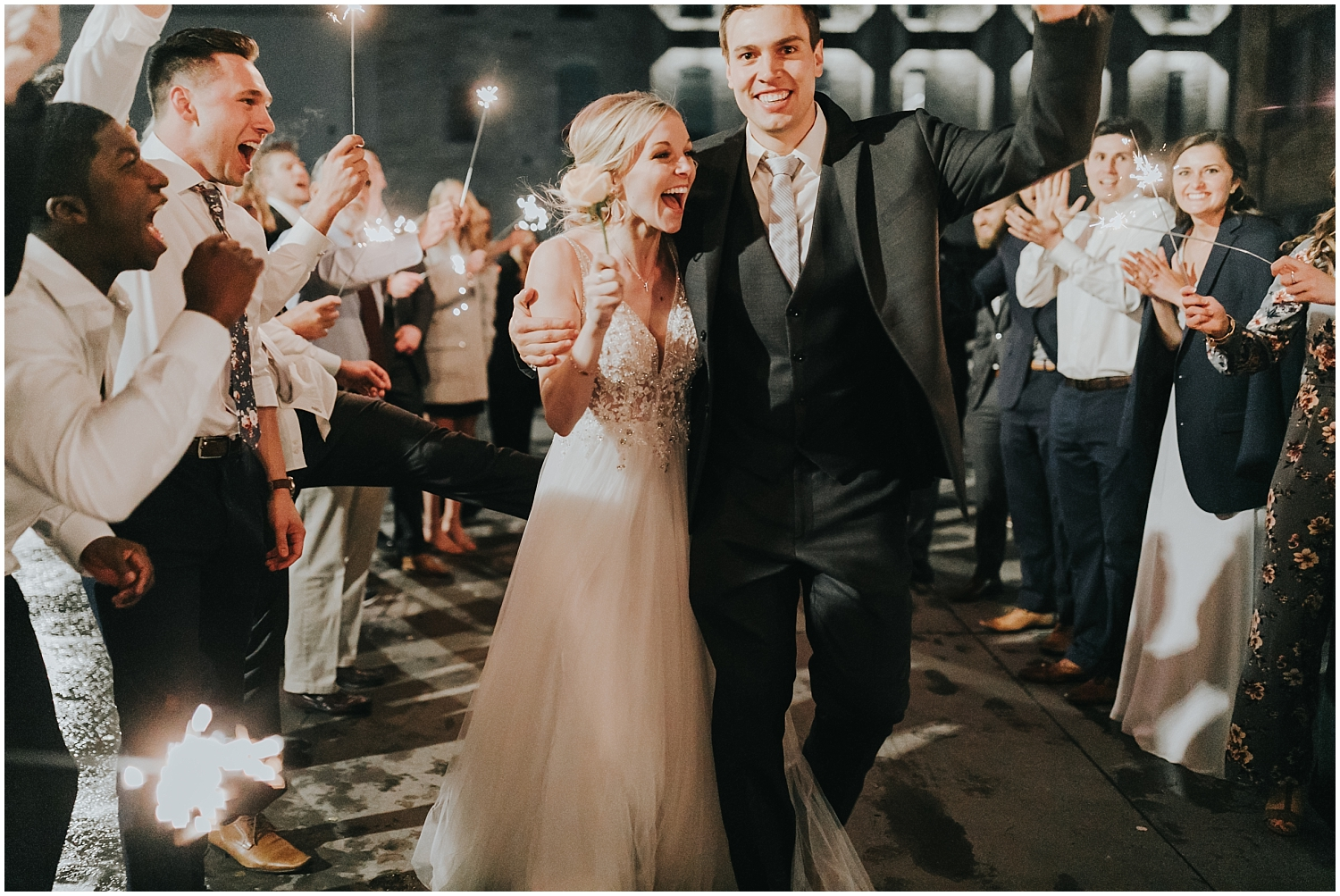 bride and groom during their grand exit
