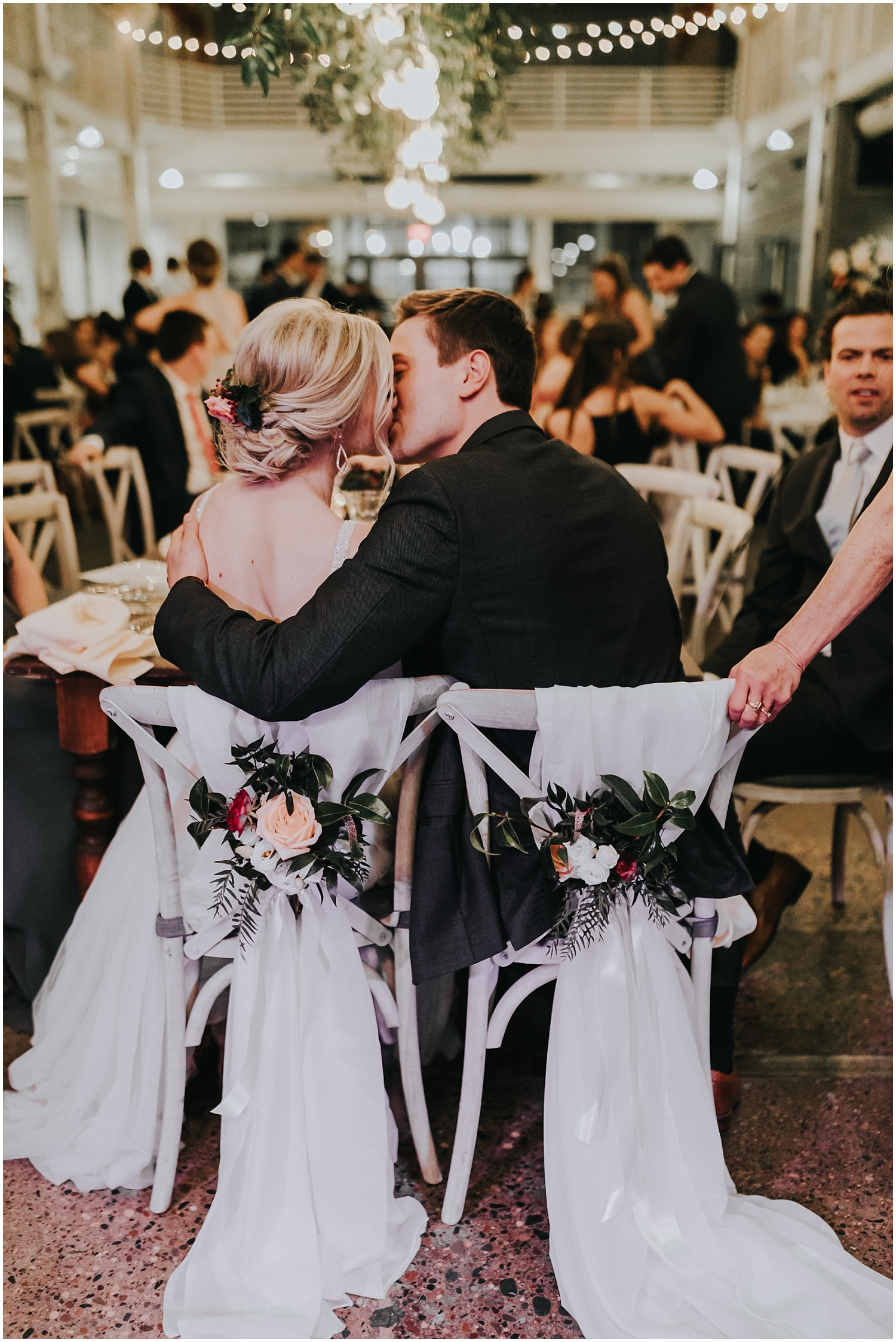 bride and groom during their wedding reception