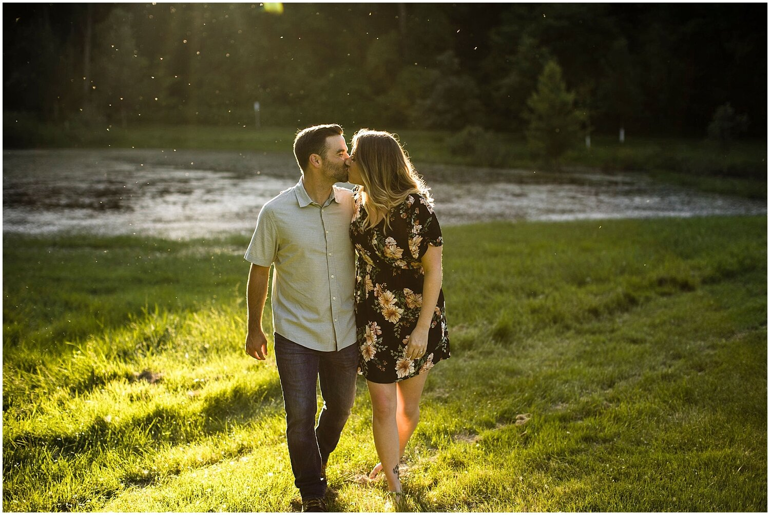 couple kisses during their engagement session