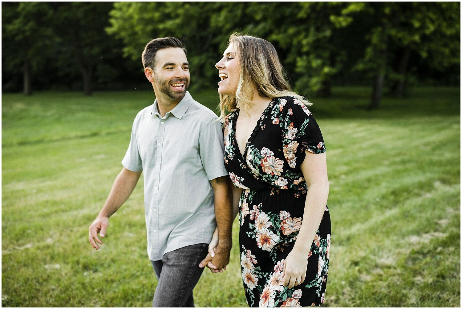candid photo of couple laughing