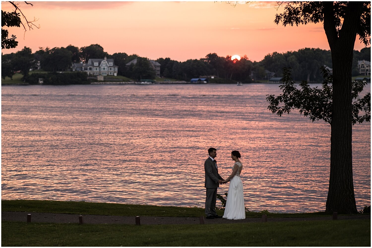 sunset photos with the bride and groom