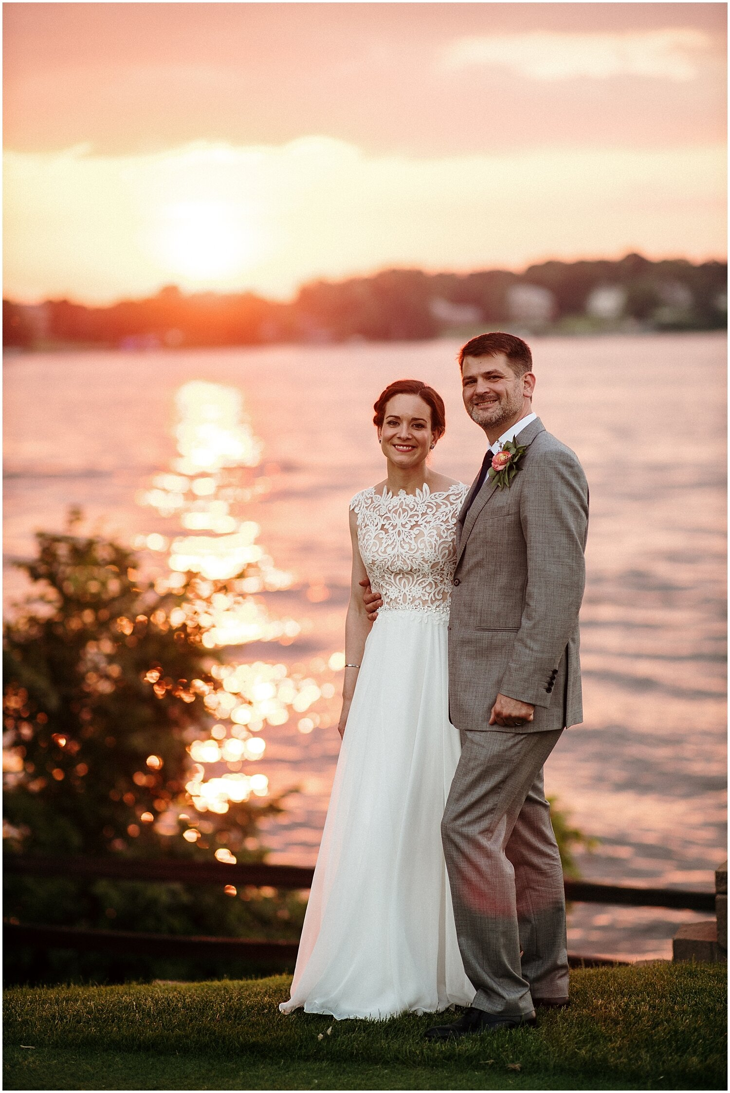 bride and groom during sunset