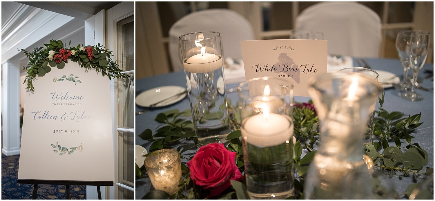 wedding reception tablescape and centerpieces