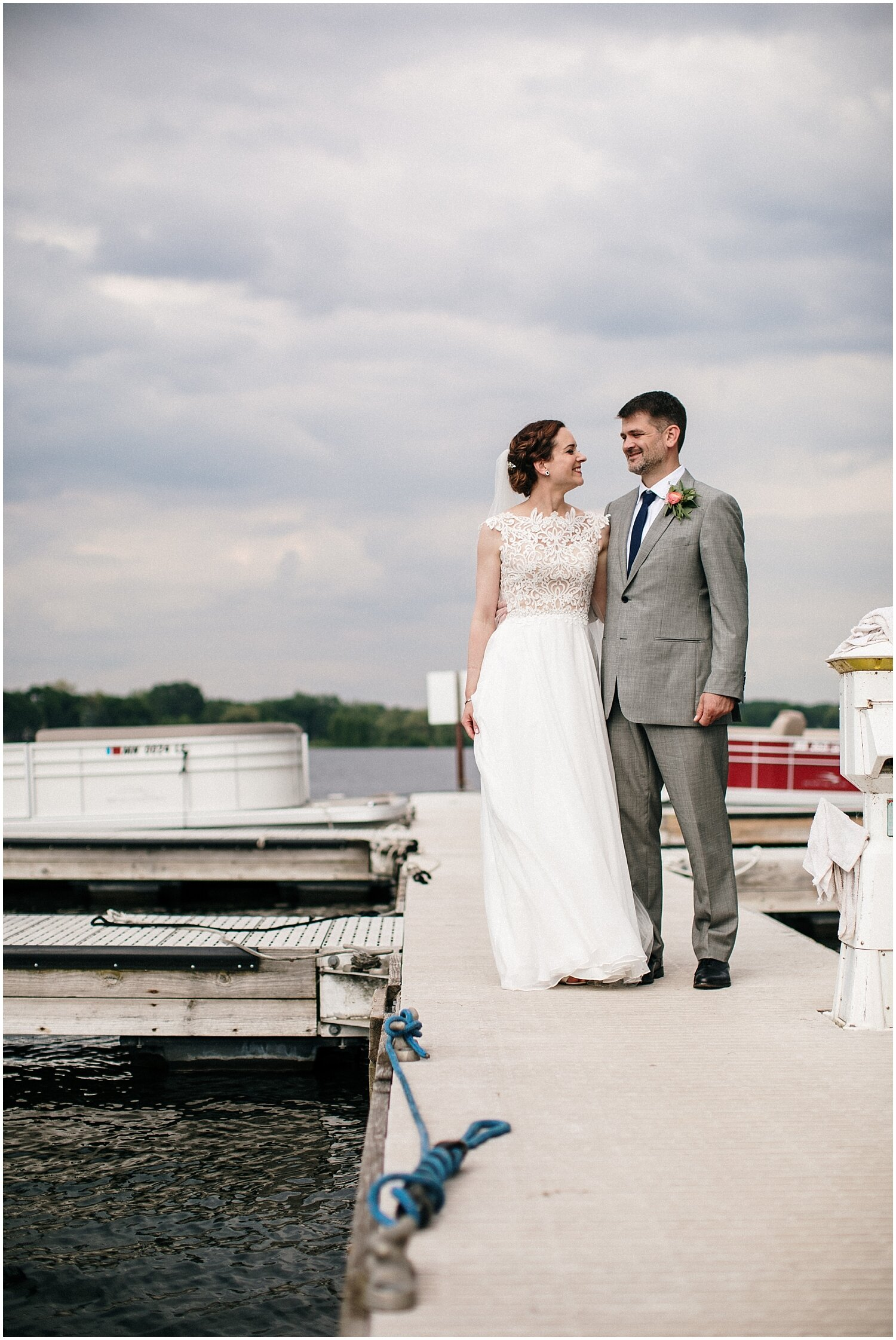 bride and groom at their MN wedding