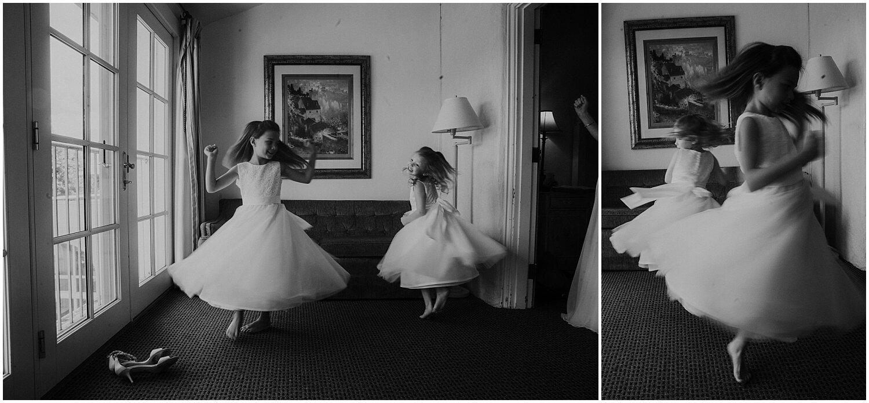 flower girls dancing before the wedding
