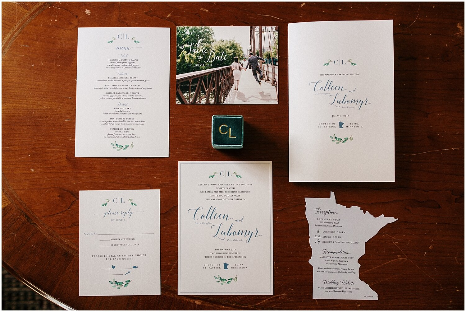 wedding invitations, save the date, and menu