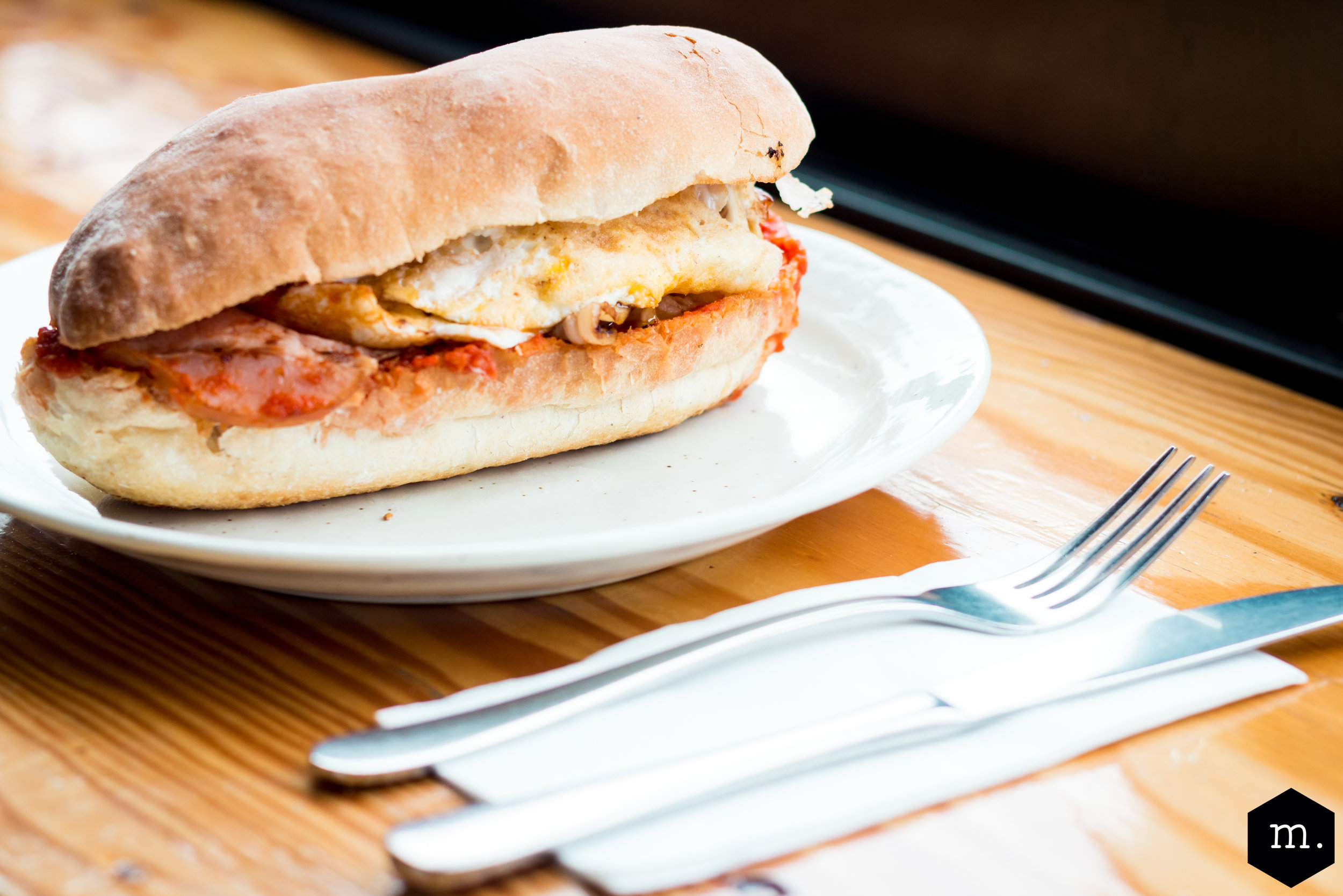 EGG + BACON ROLL $13 - Free range egg + bacon w. Housemade Relish/BBQ sauceAdd the lot - cheese, avo + hash brown $10DF, GFO