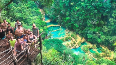 View of Semuc Champey pools from hike overlook