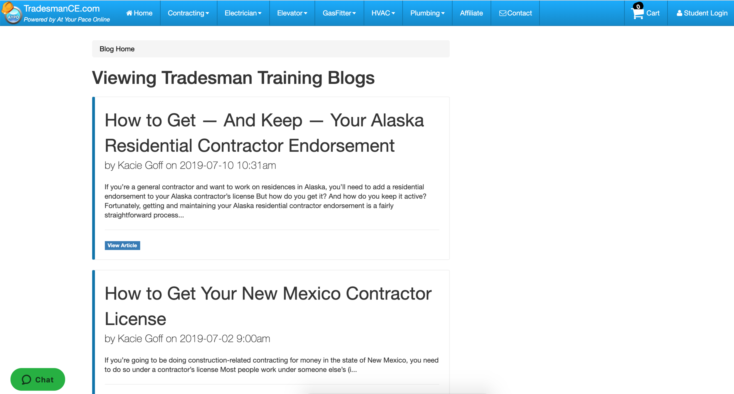 Blogs: At YOur Pace Online - At Your Pace Online offers a broad range of online continuing education opportunities. And to educate their clientele about those opportunities, I write blogs for them. You can find them at their Tradesman CE site, both in the blog section and their Career Central resource, where I created all of the content.