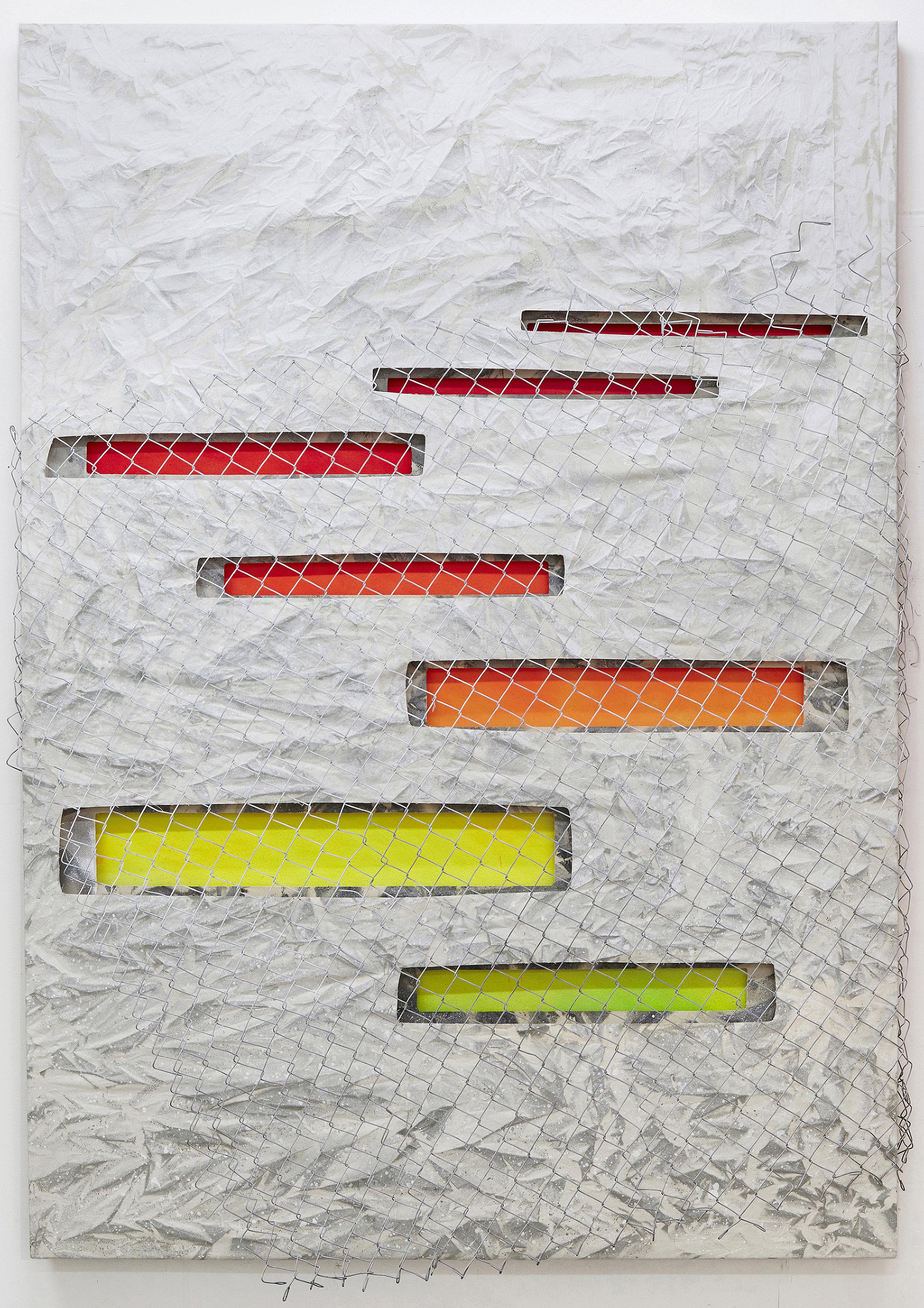 Low Culture Lasagne.   Alkyd resin, fence & triple canvas.  243 x 172 cm.  London, 2016.