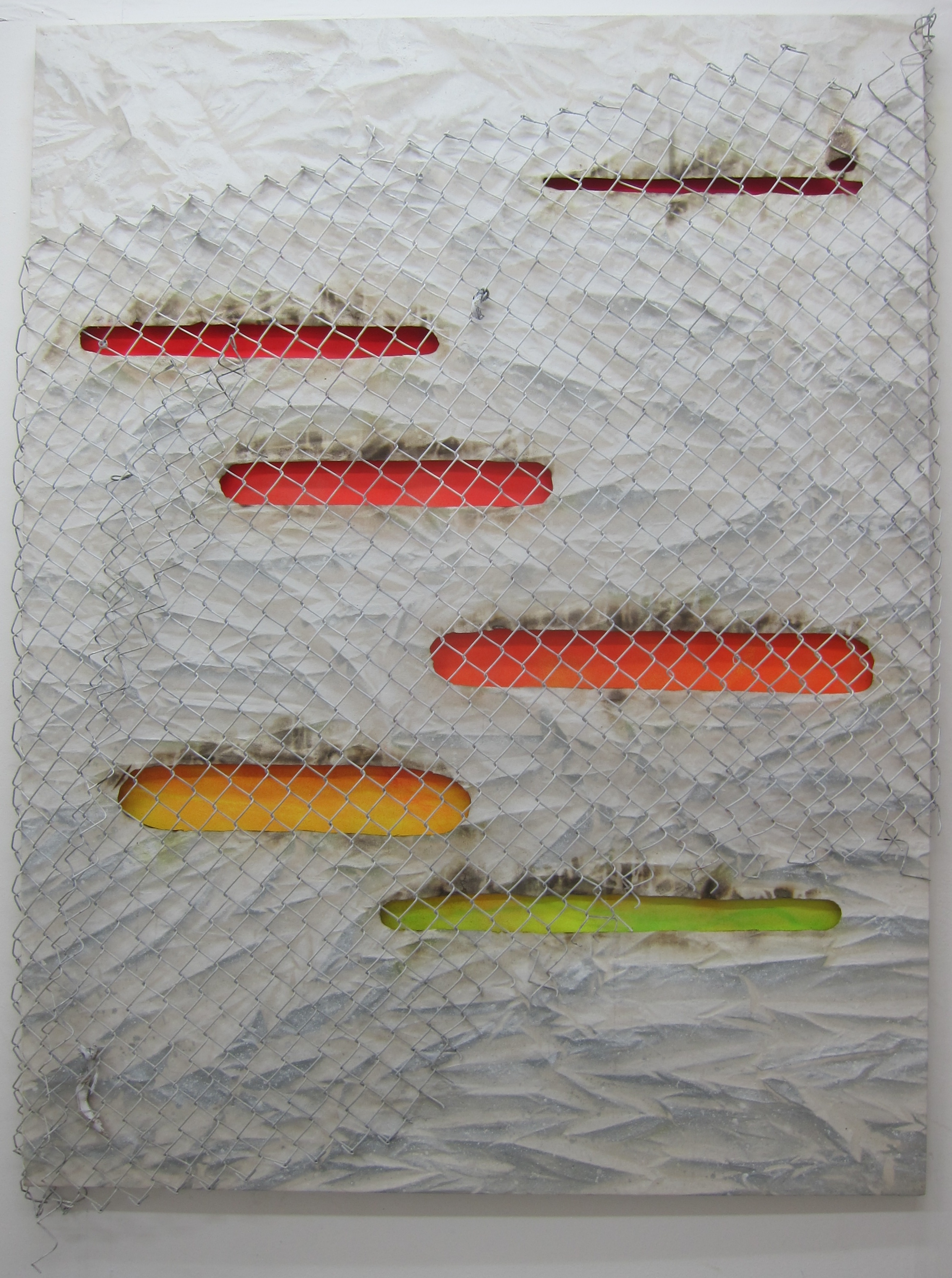Chromophobia 3.   Alkyd resin, fire, fence, bush & double canvas.  170 x 130 cm .  2016.