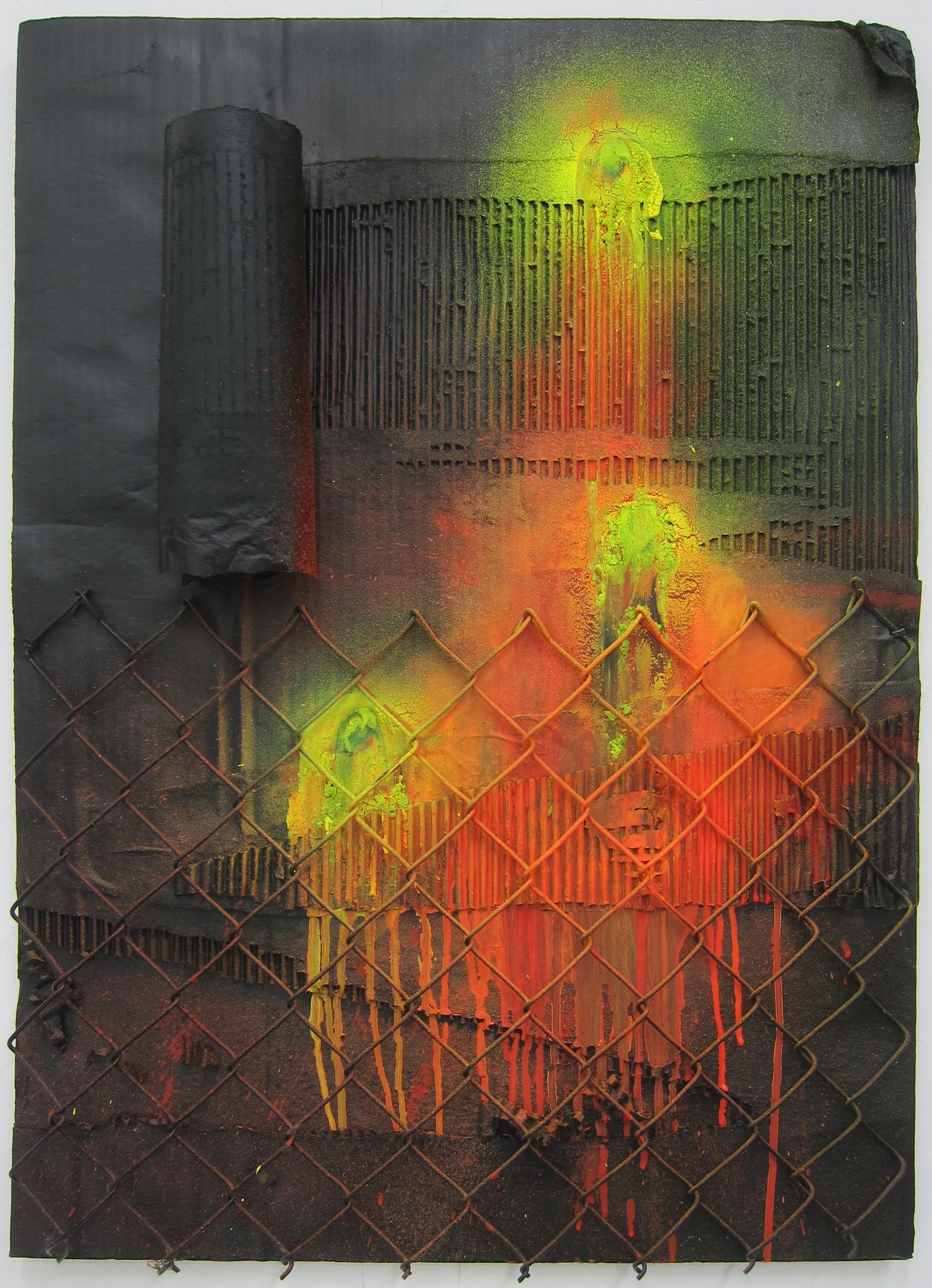 Fluro Fetish.   Cardboard, alkyd resin & fence.   80 x 58 cm.  2015.
