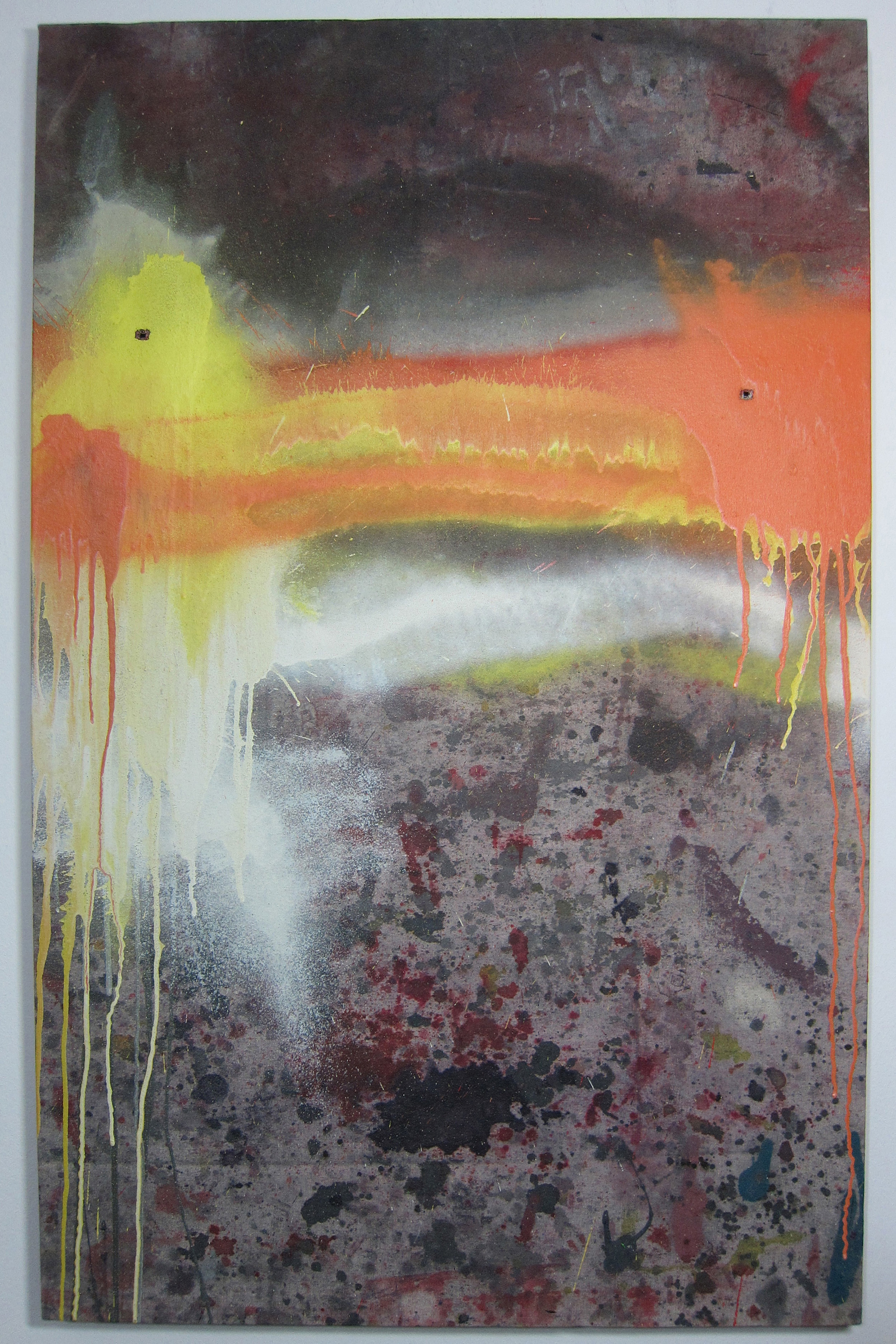 Dysfunctional Dialect.   Oil, alkyd resin, ink, water colour, rain,canvas and shot twice with a Marlin Underlever .38 rifle.  110 x 70 cm.  2015.