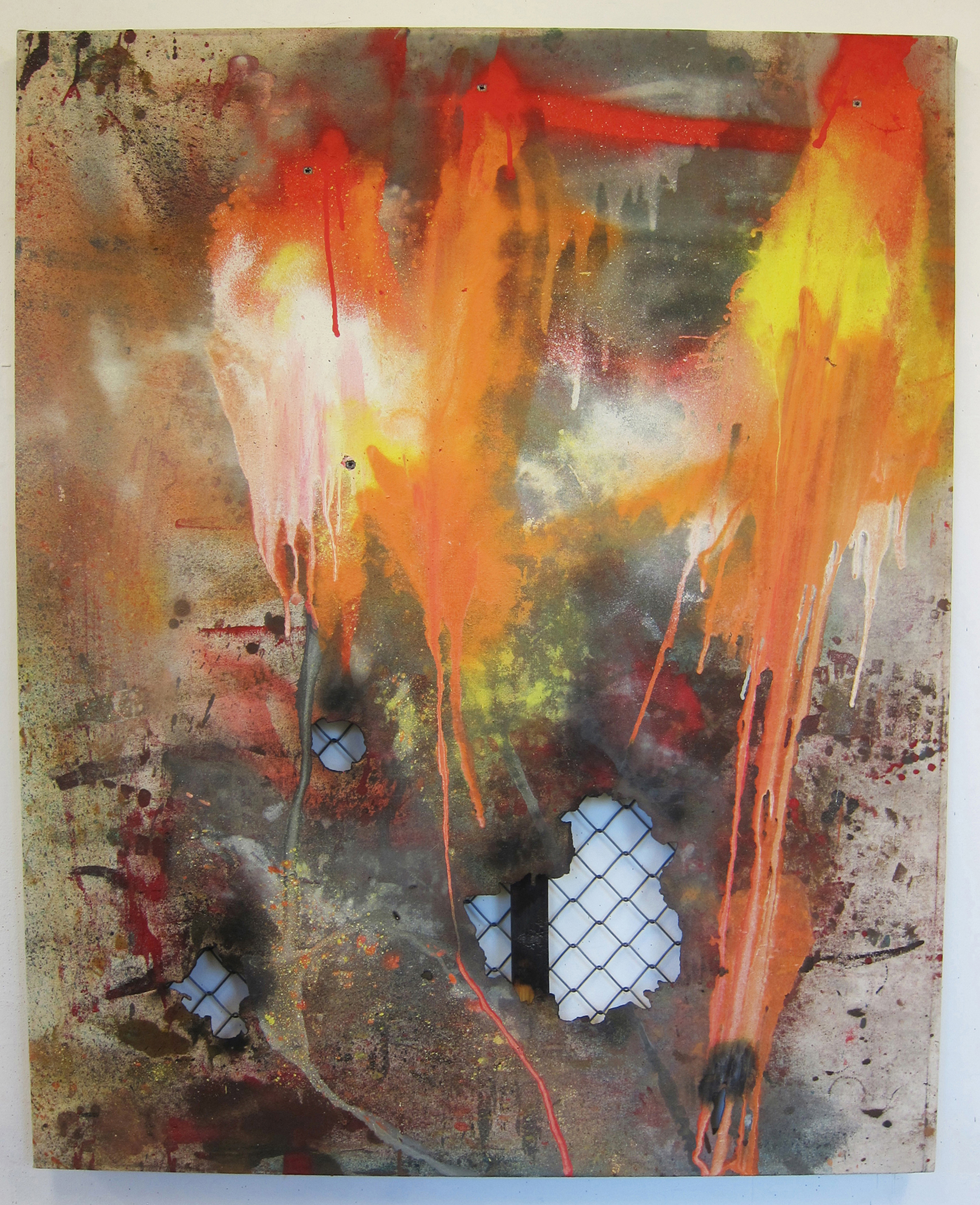 Vandal Vernacular.   Oil, alkyd resin, fire, fence, rain, canvas and shot 4 times with a Marlin Underlever .38 rifle.  130 x 107 cm.  Proof Gallery, London 2015.