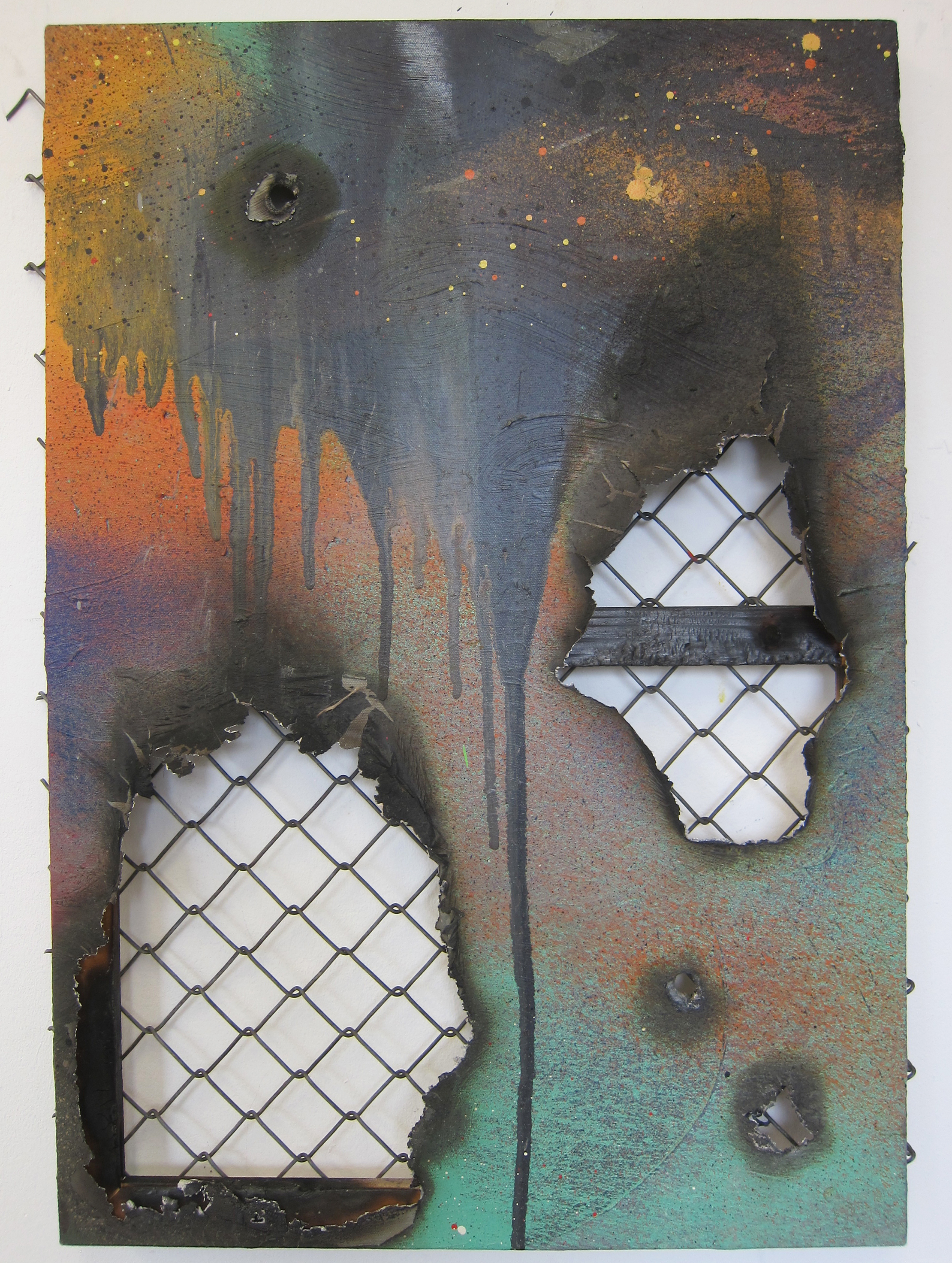 Bumpkin Zoo 001.   Alkyd resin, oil, fire, fence, and canvas.   76 x 50 cm.   2015.