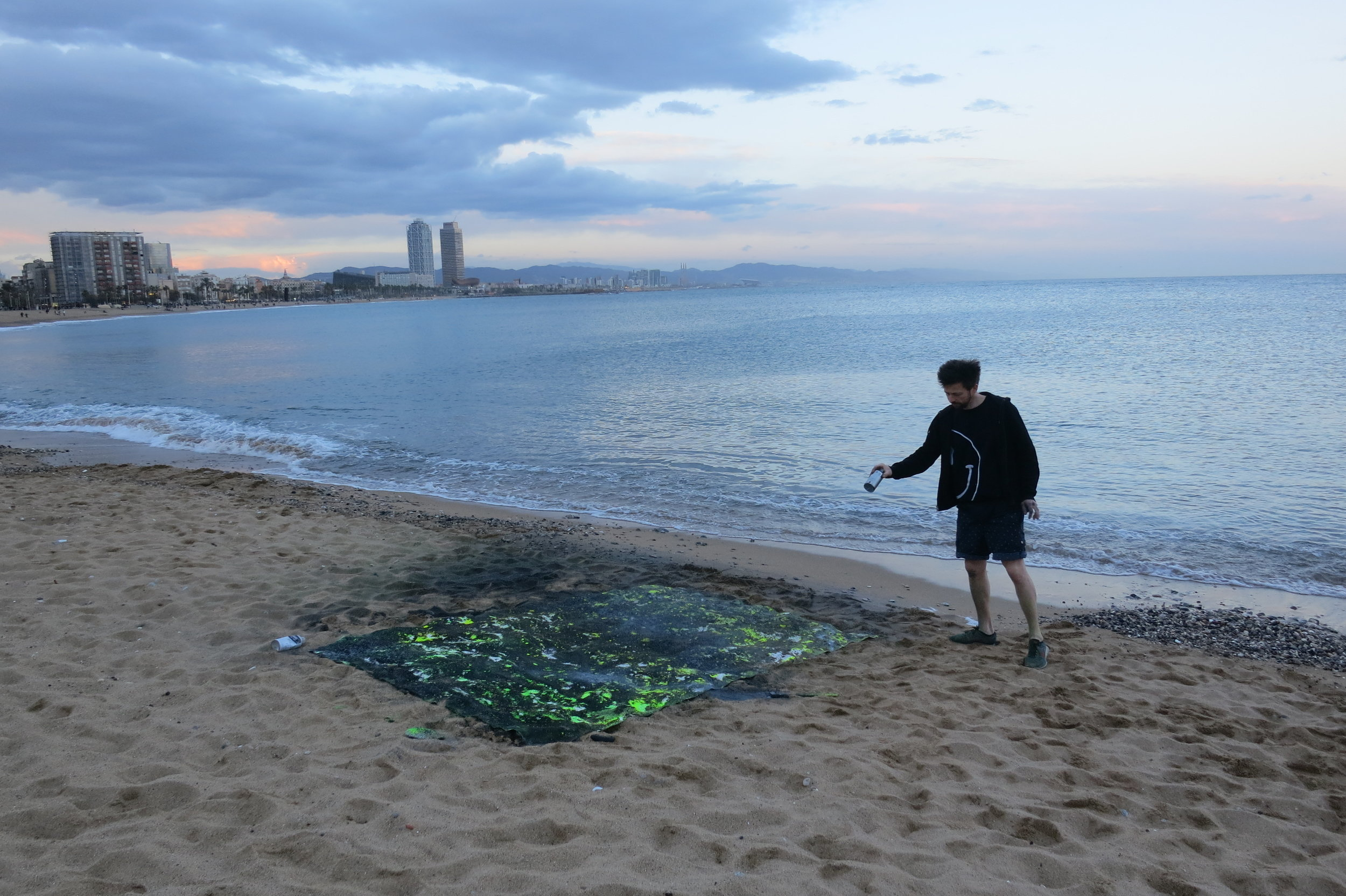 Sand and nail bomb painting for the  Moral Minimalism  solo exhibition.  Playa Barceloneta, Barcelona, Spain 2018.