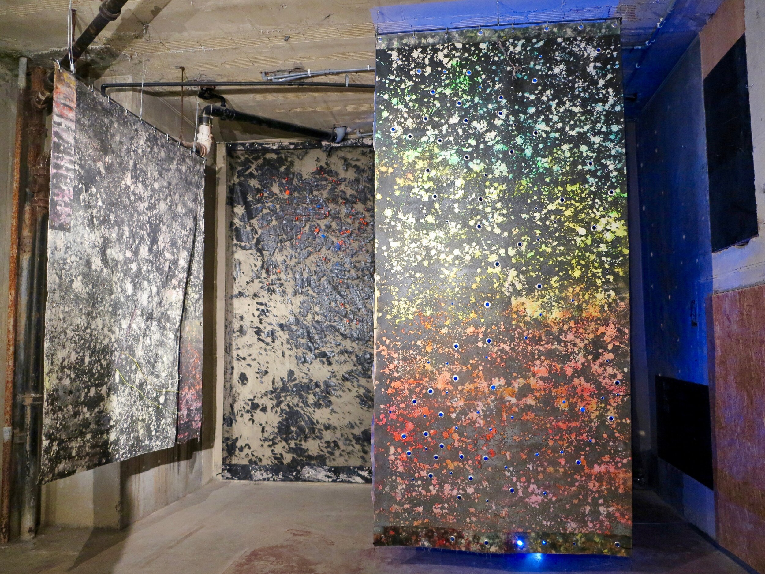 Sugar Mountain  installation view.  Alkyd resin, sand, brass, rubber, polyethylene, canvas and steel.  410 x 480 x 460 cm.  The Silver Building, London 2019.