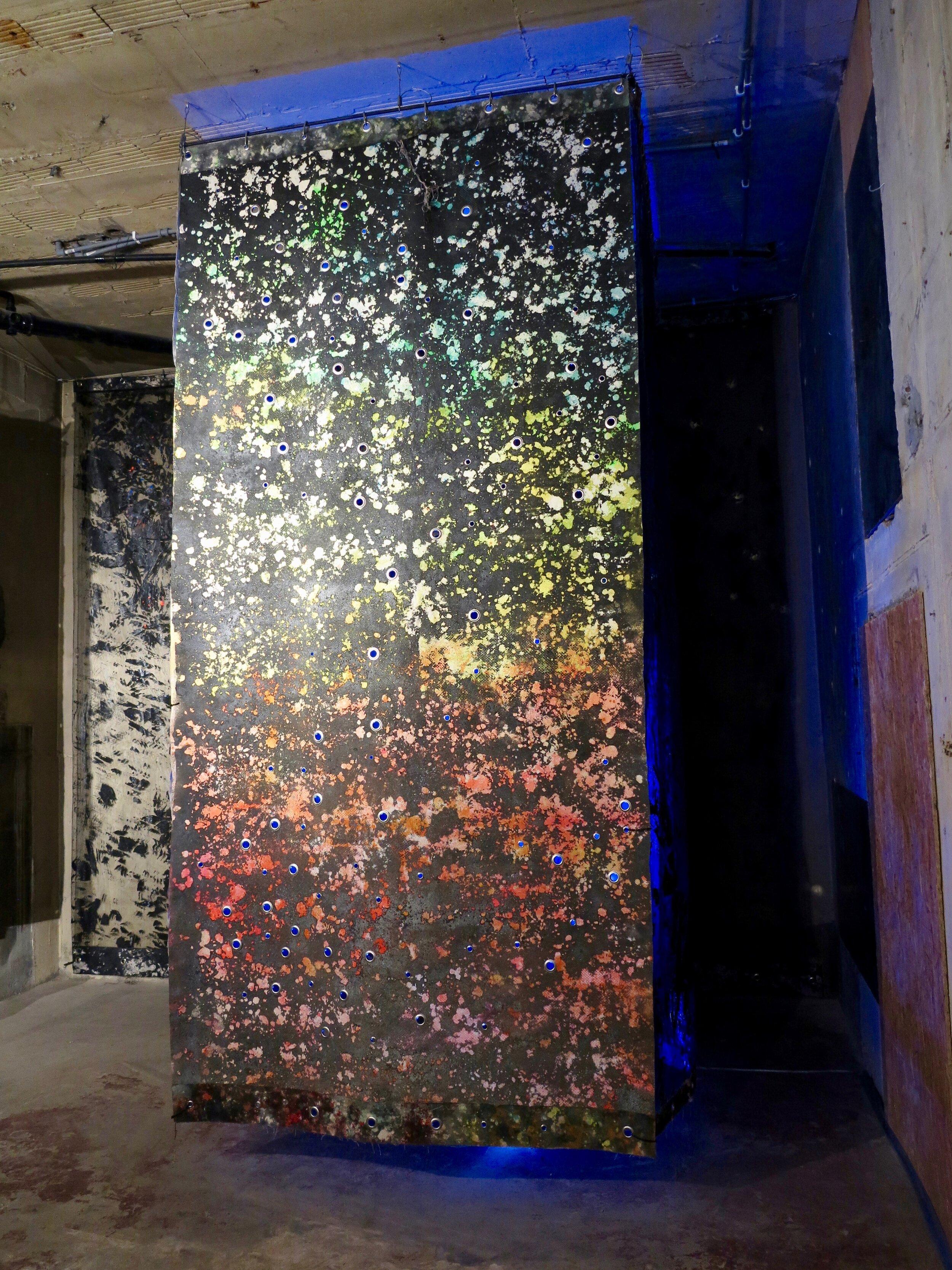 ACIDIC BLOC.   Alkyd resin, sand, brass, rubber, polyethylene, canvas and steel.  380 x 180 x 180 cm.   Sugar Mountain  @ The Silver Building, London 2019.