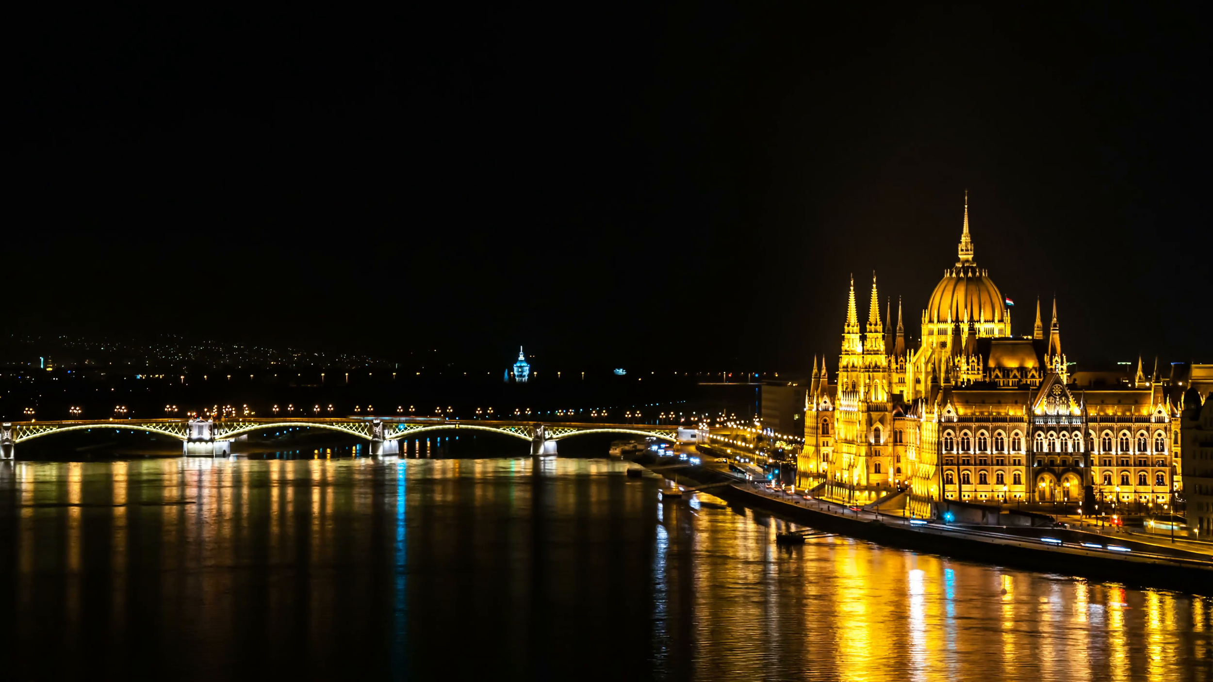 The Chain Bridge, Danube & Parliament Building