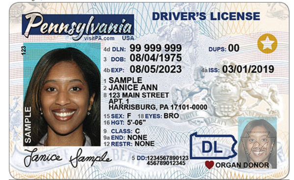 Example of Real ID drivers license in another state, same star Real ID symbol.