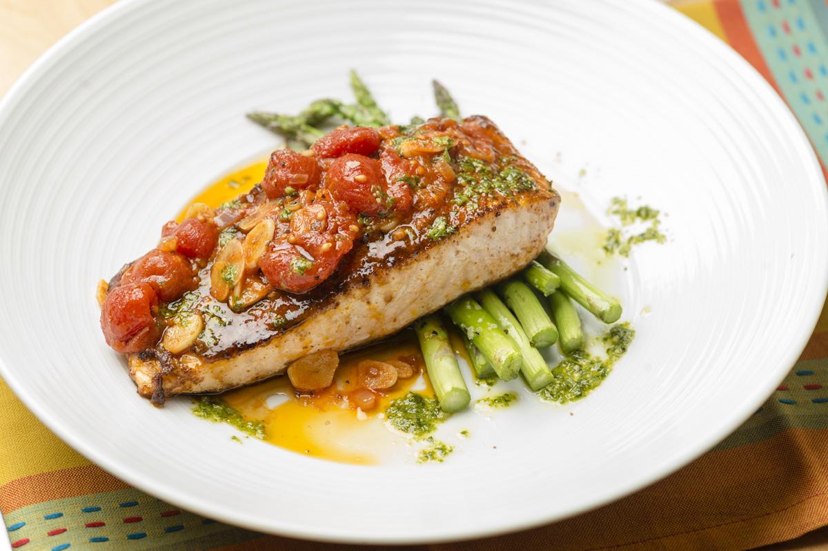 enjoy a casual dinner featuring fresh fish and steaks