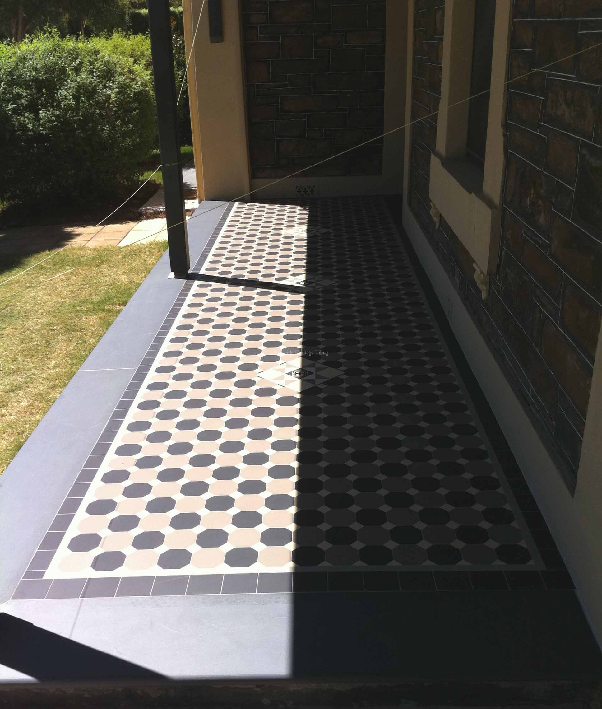 Alternating Black and Grey Octagons with Oatmeal Dots, strip and filler border, Mintaro Slate bullnose edging