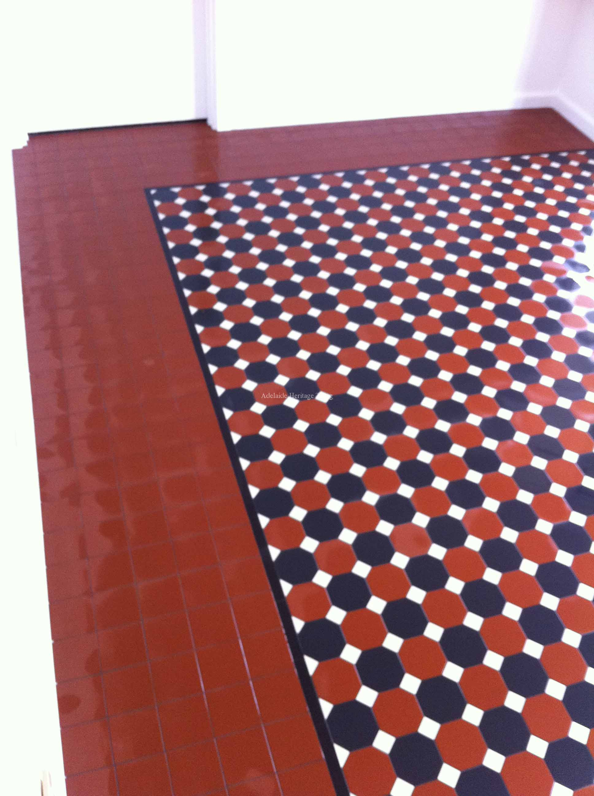 Black and Red Octagons and Dots with Filler Tile Border