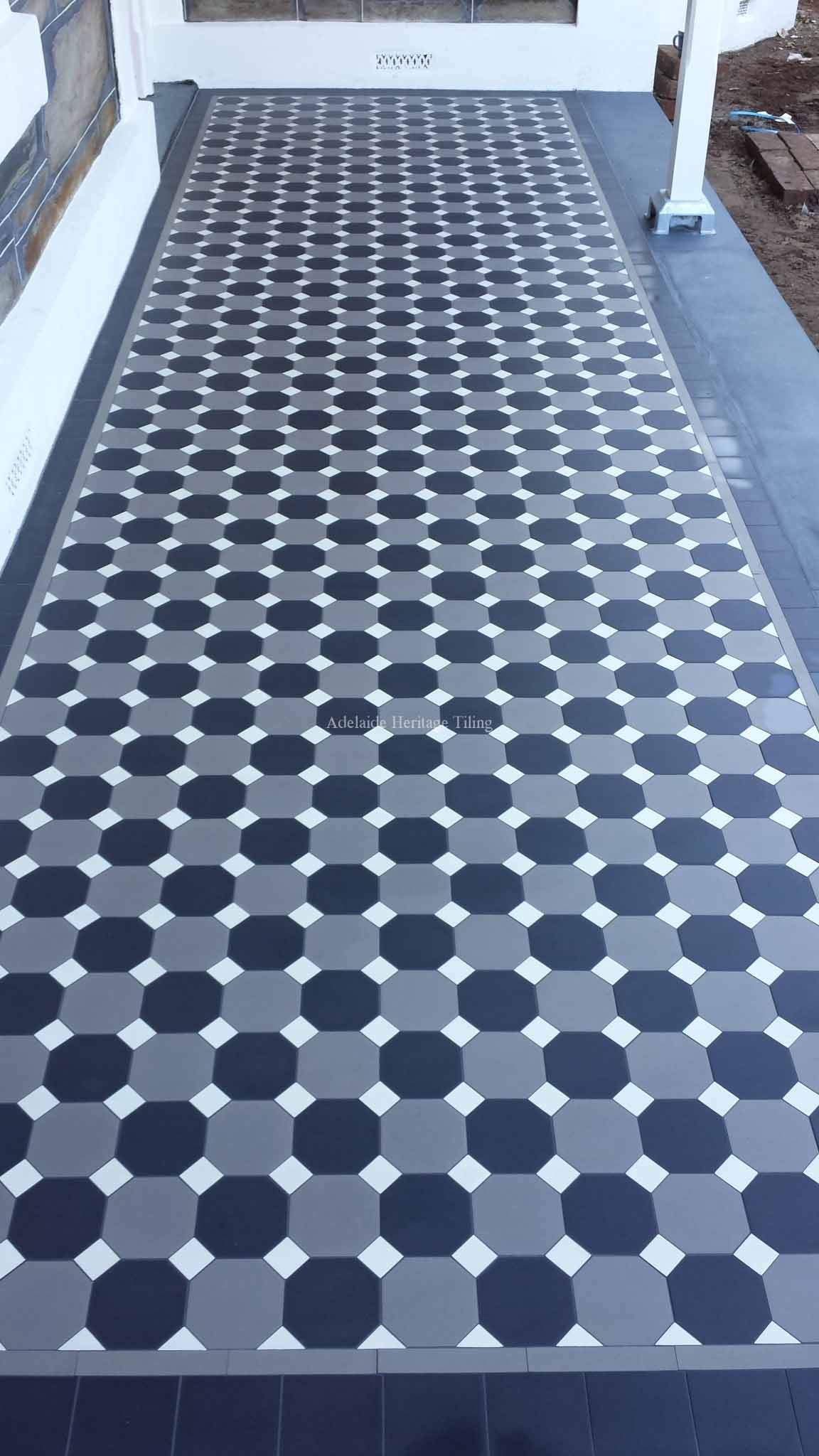 Alternating Black and Grey Octagons with Oatmeal Dots, filler tile border, Mintaro Slate Edging
