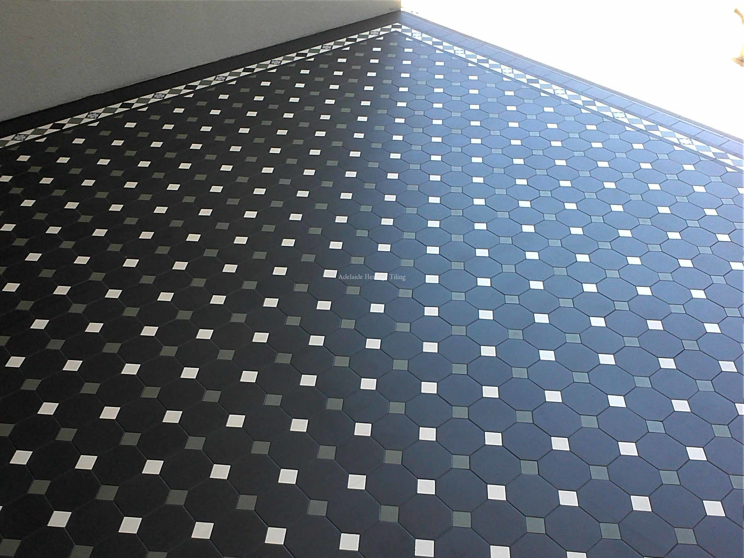 Black Octagons with alternating grey and oatmeal squares