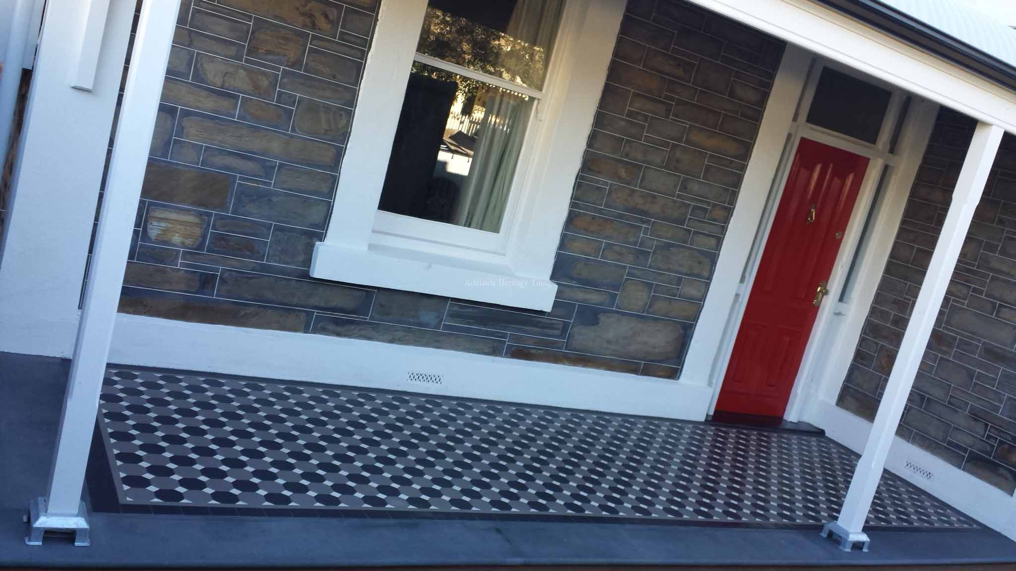Grey and Black alternating Octagons and White Dots with a strip and filler border and Mintaro Slate edging