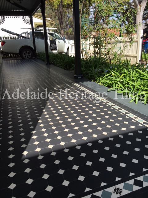 Black Octagons with white dots, Norwood Border alternating colours with encaustics