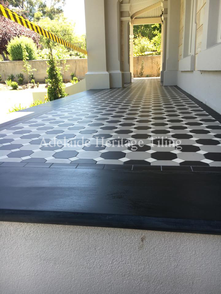 Grey and Black alternating Octagons with white dots and strip border