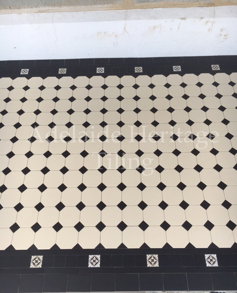 White Octagons with Black Dots and Special Border with encaustics