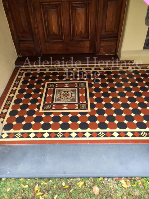 Special Red and Black Alternating Octagons with Oatmeal Dots and Norwood Border with Wellington Panel (with encaustic)