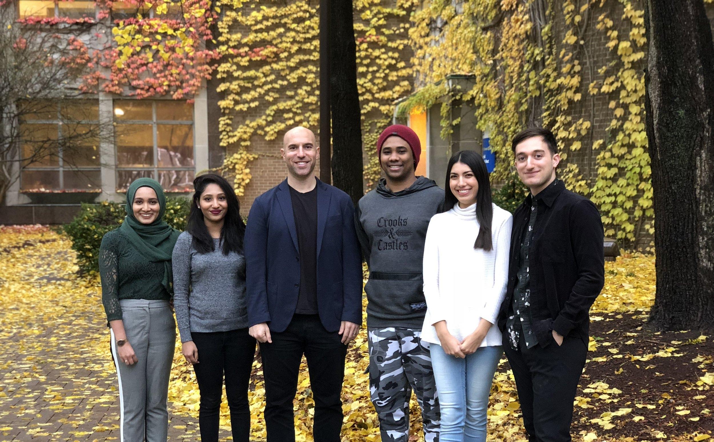 Fall 2018   L to R - Zainab Shakeel, Jyotsna Mary George, MJA, Taj Seaton, Julia Pia, Nick Jamkhou
