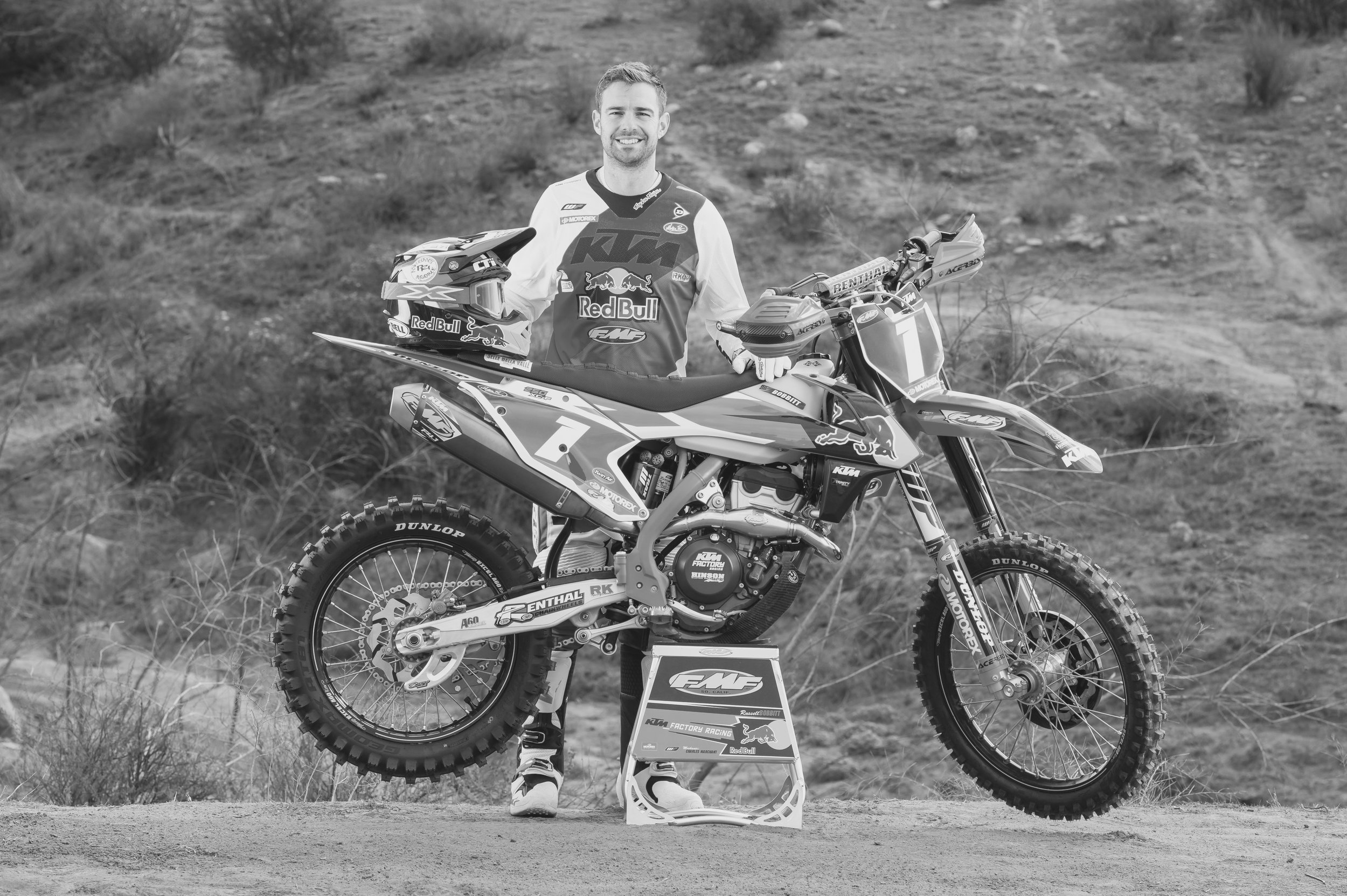 Russell Bobbitt    Five-time National Enduro Champion    10 Consecutive years as a factory racer    7 time ISDE participant (4 gold medals, 3 silver medals)    2017 Powerline Park GNCC 3rd Overall    Instagram follower: 15,400+