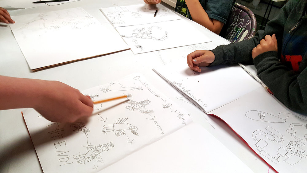 """Students playing a favorite drawing game borrowed from the Providence Comics Consortium workbook, """"Food Chain!"""""""