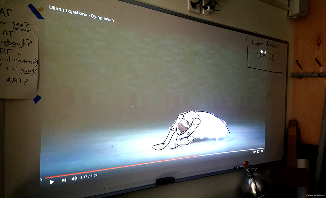 Using a projector onto a white board, I was able to block out forms using dry erase markers to show students how to break down the figure.