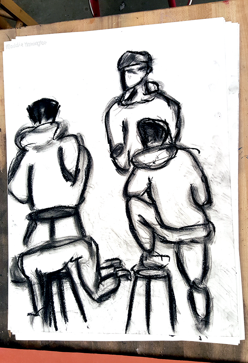 Short poses drawn by a 10th grade student.