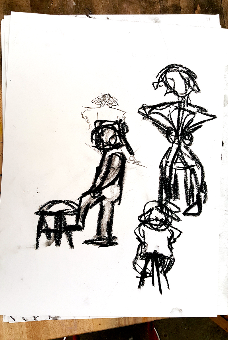 Quicker, gesture poses by a 10th grade student.