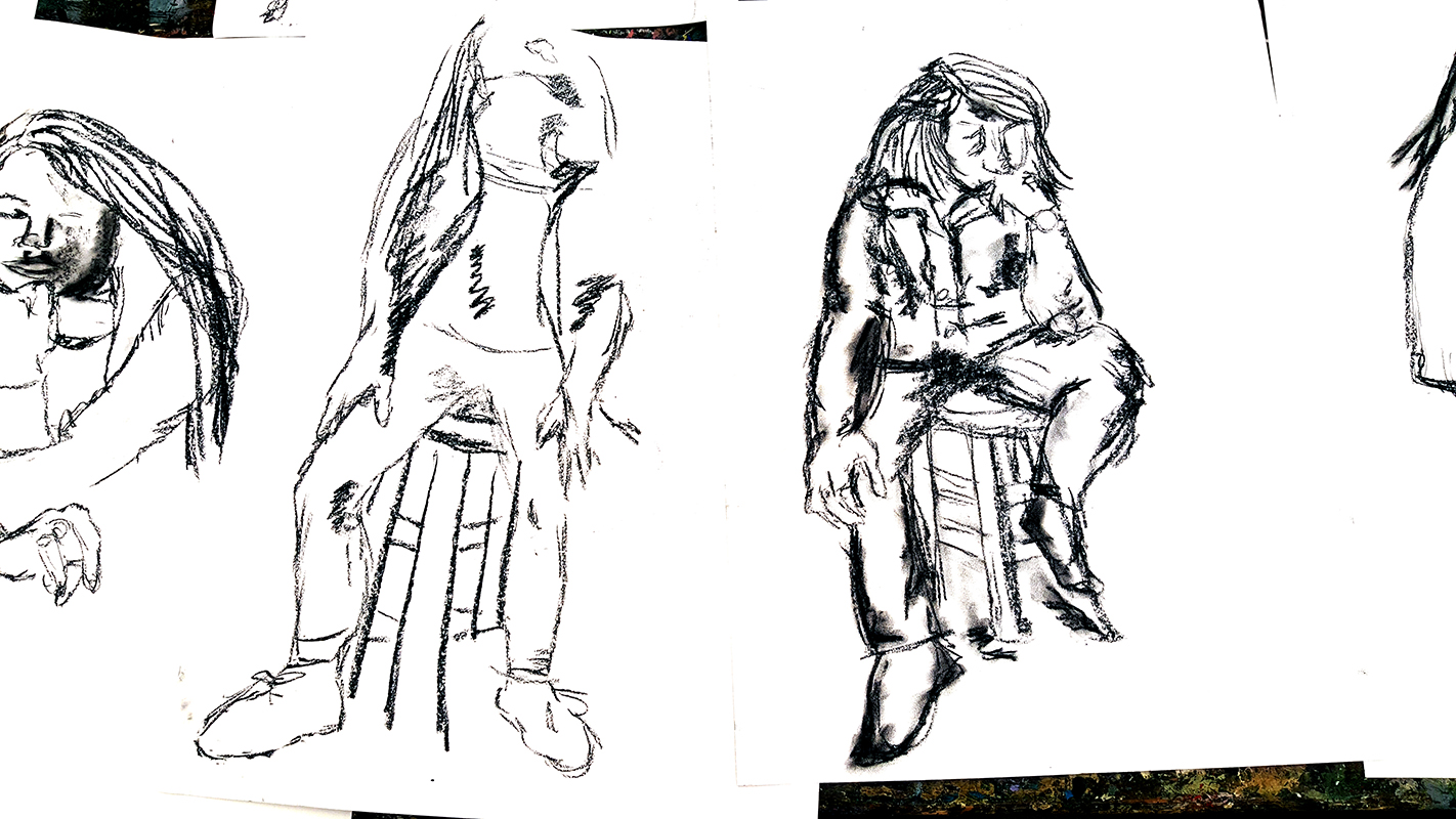 Longer poses drawn by an 11th grade student.