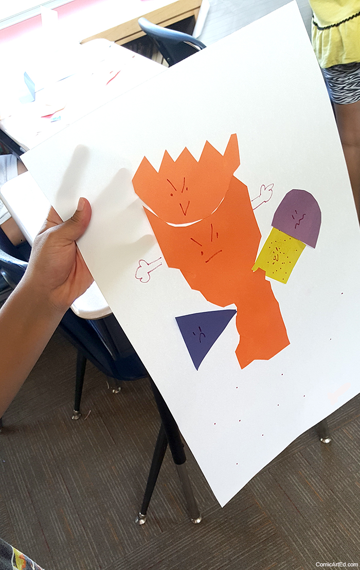 Some students chose to collage a whole person's body with their feelings symbols. (3rd grade)