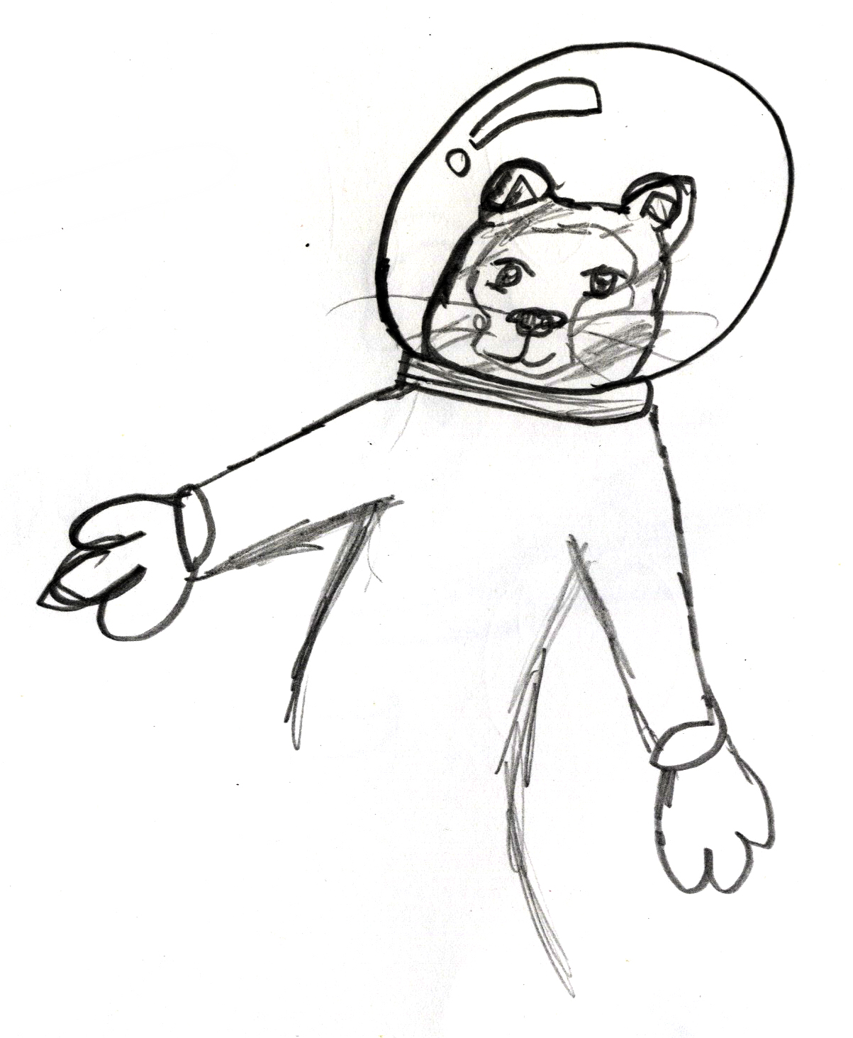 Tiger Astronaut by a middle-grade student.