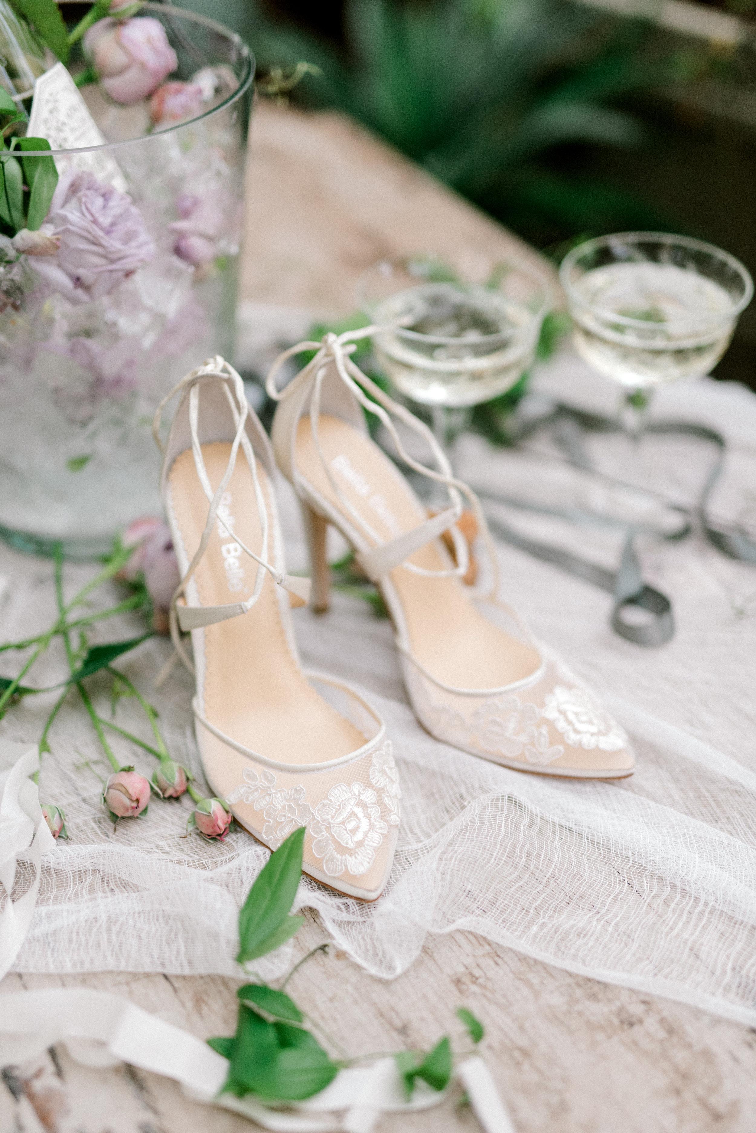 haley-richter-photography-jardin-de-buis-wedding-photos-greenhouse-wedding-bhldn-gown-lilac-wedding-bouquet-beaded-wedding-gown-new-jersey-weddings-garden-wedding-bella-belle-wedding-shoes-lace-romantic-shoes-heels