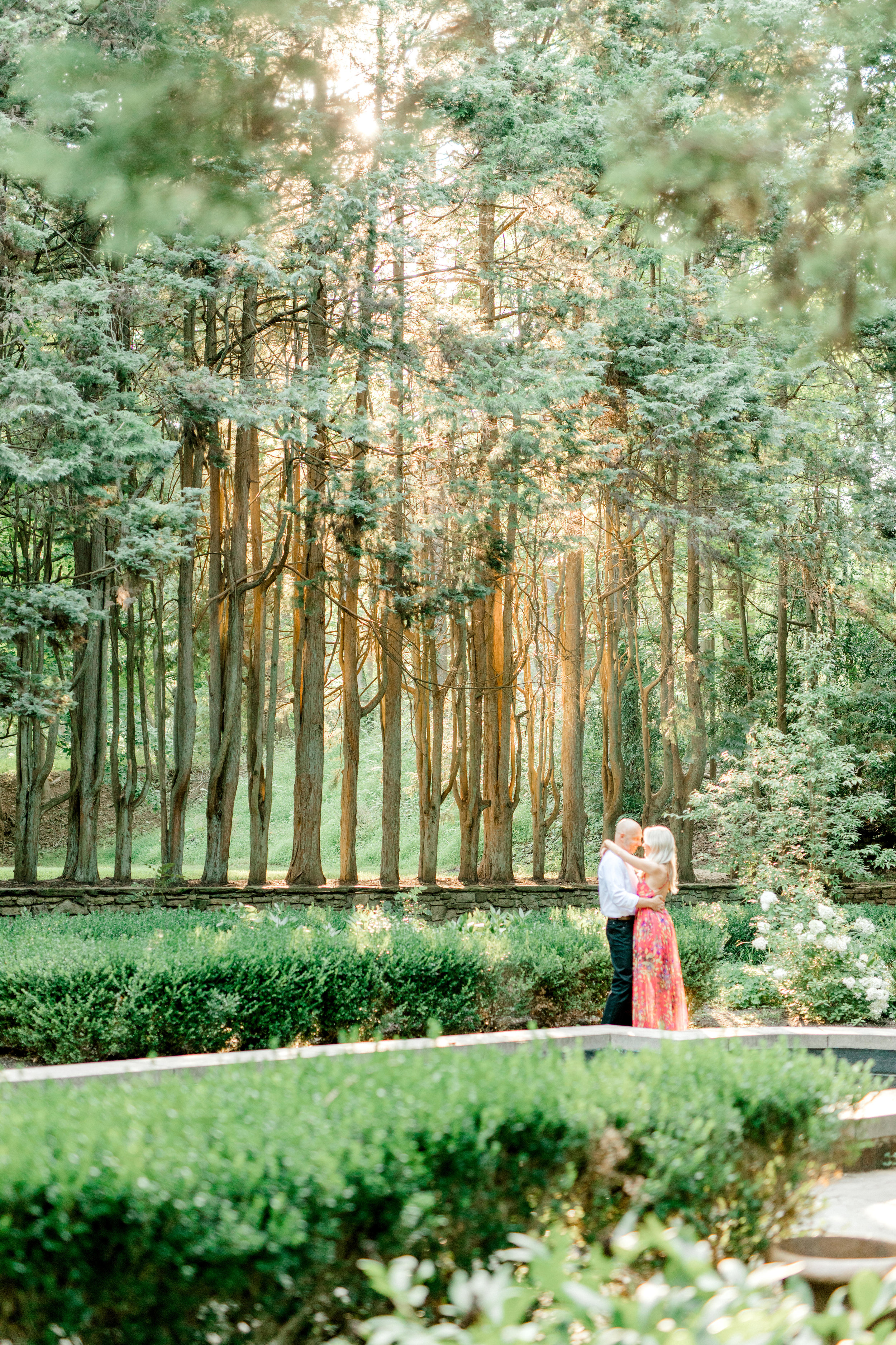More of that glowing sun coming through the trees for Liz and Bill's romantic woodland engagement session at Parque at Ridley Creek.