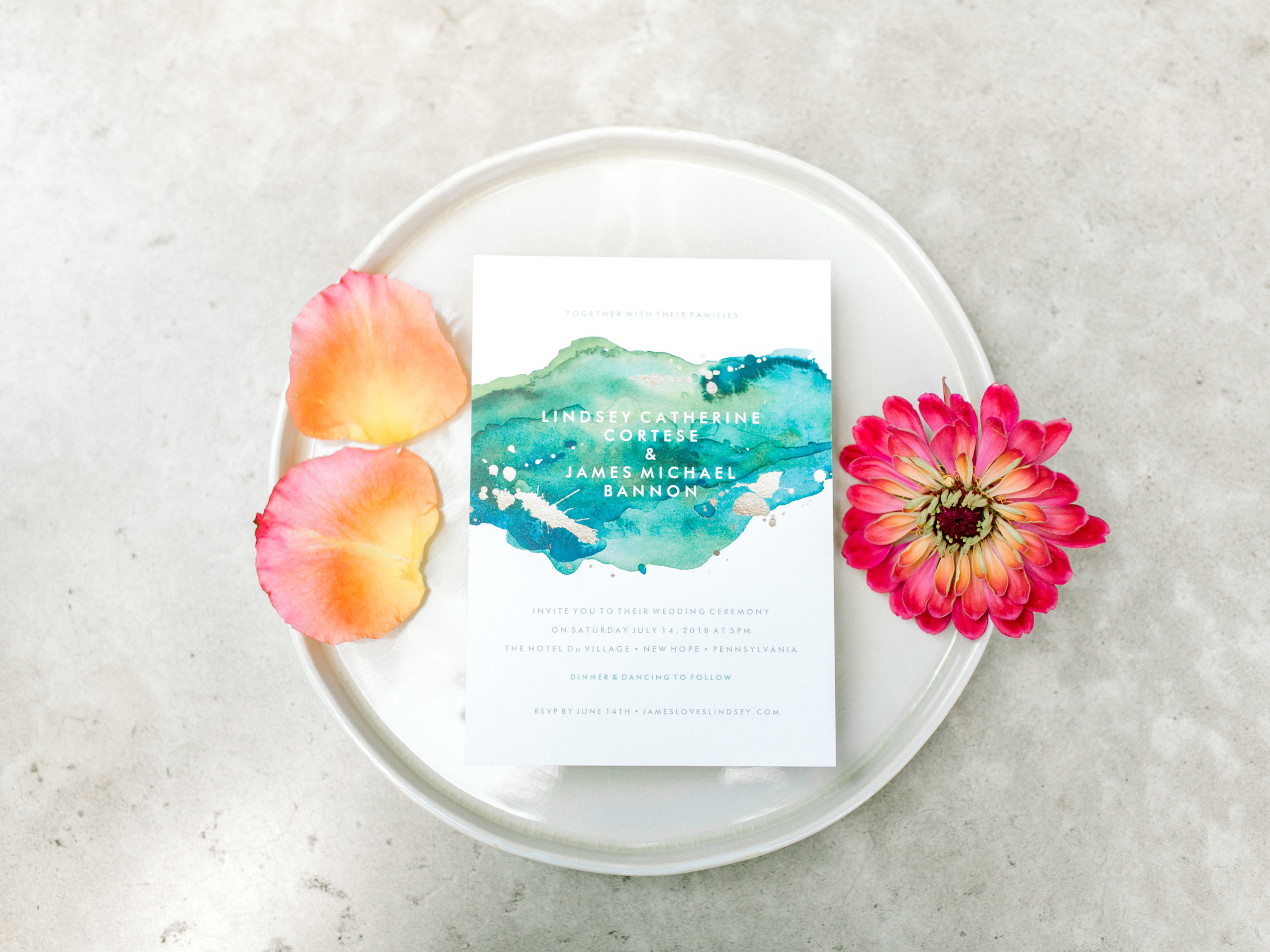 Colorful and modern wedding details. Blue watercolor invitation.