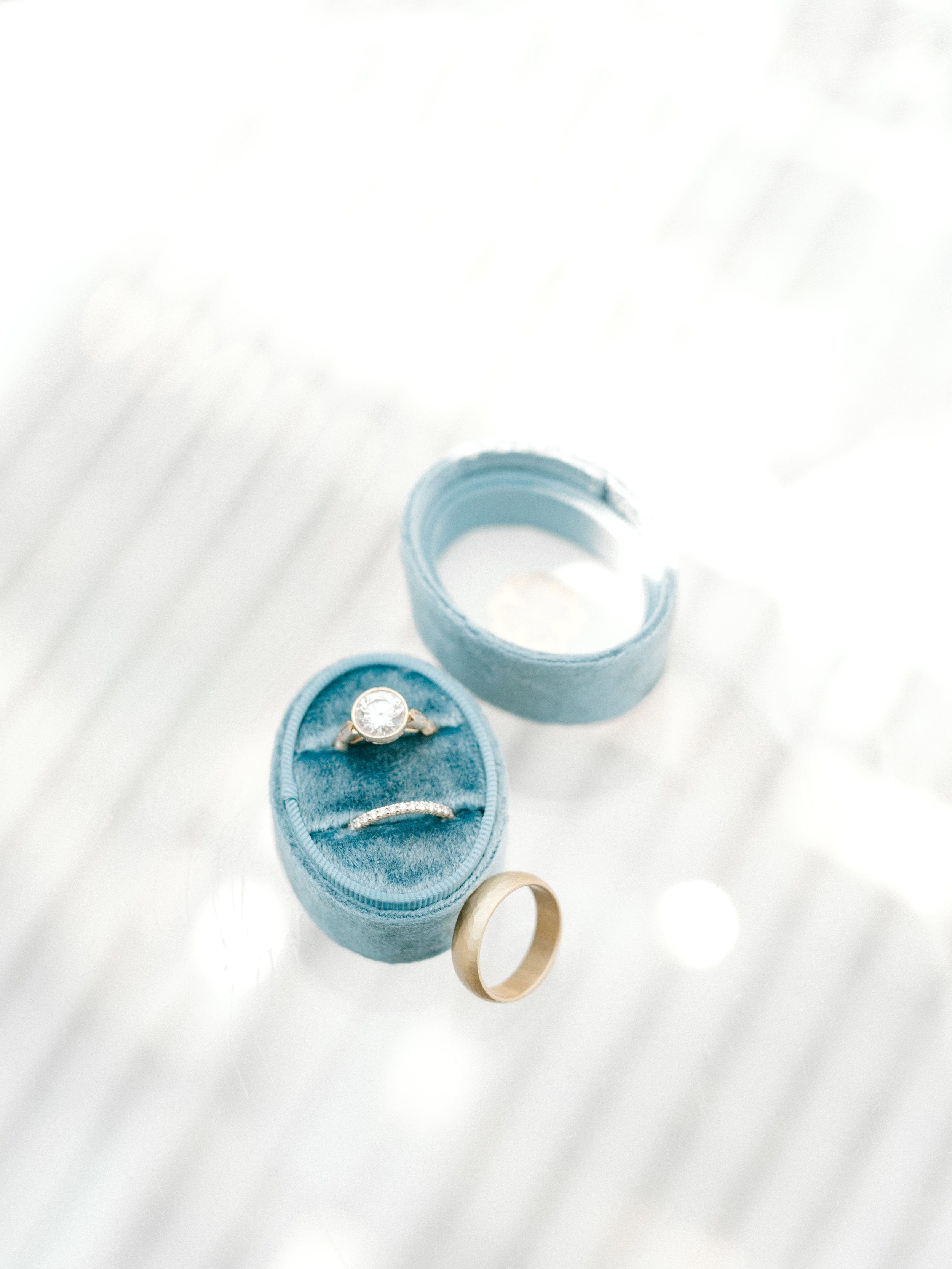 Modern wedding rings in a brushed gold finish. Perfect for the modern couple looking for a classic style.