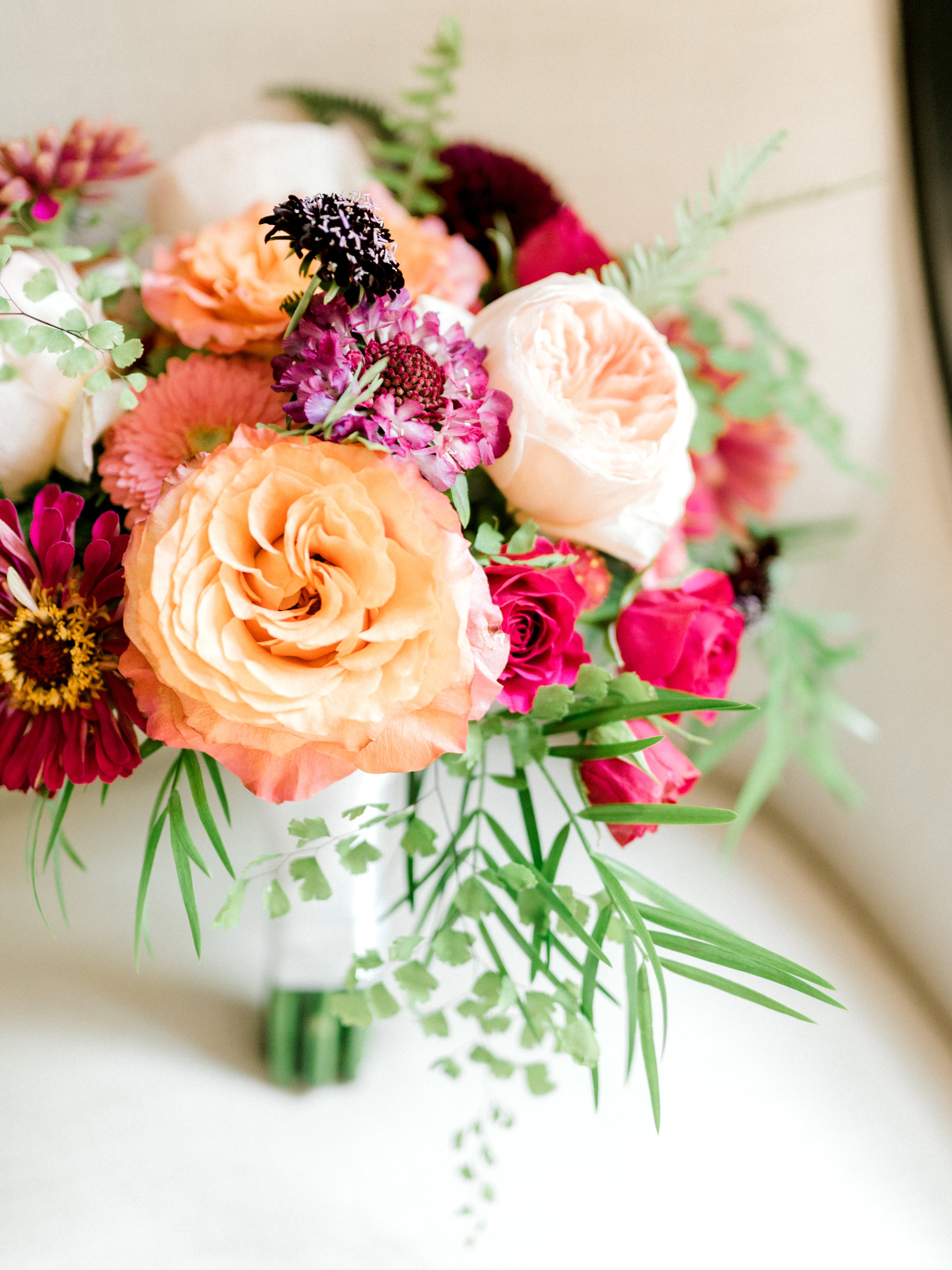 Bright colorful bouquet from The Pod Shop for this modern summer wedding at Hotel du Village.