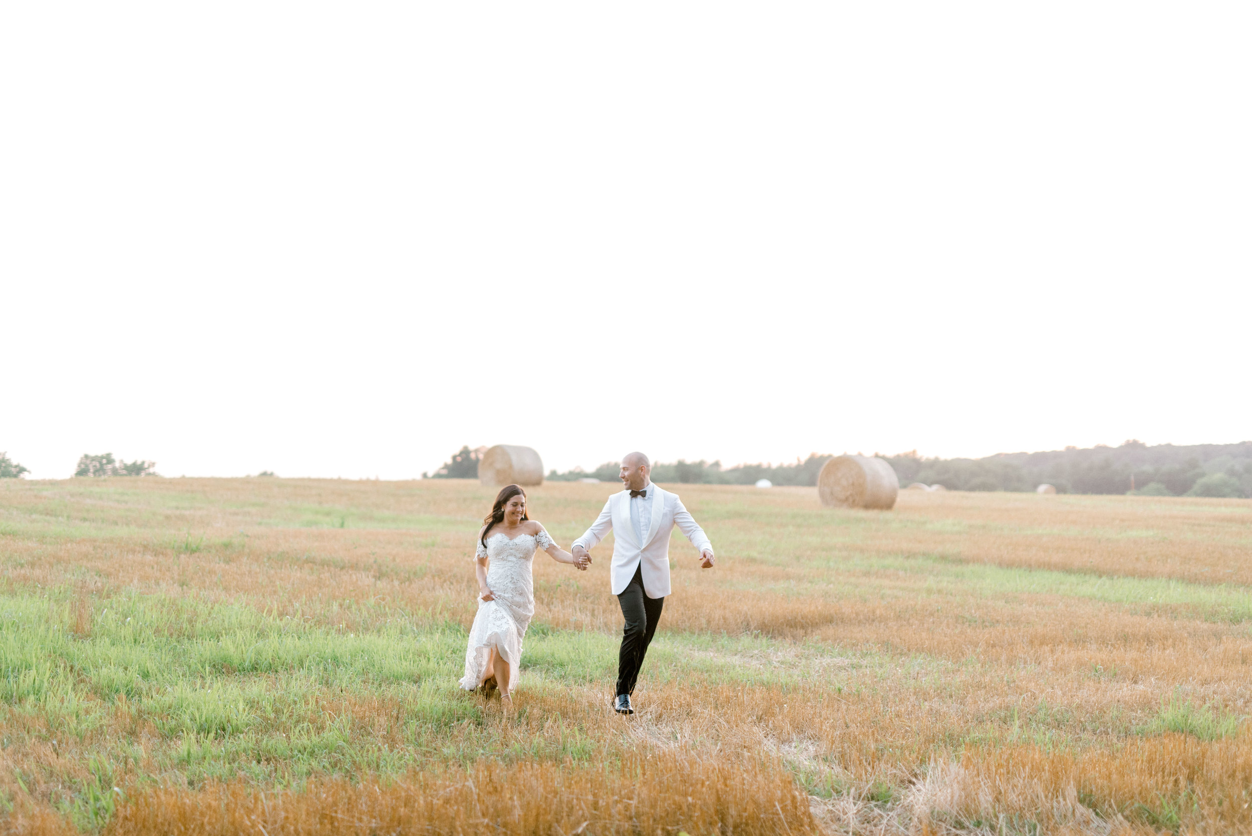 Running through a wheat field dressed to the nines on your wedding day is as romantic as it gets.