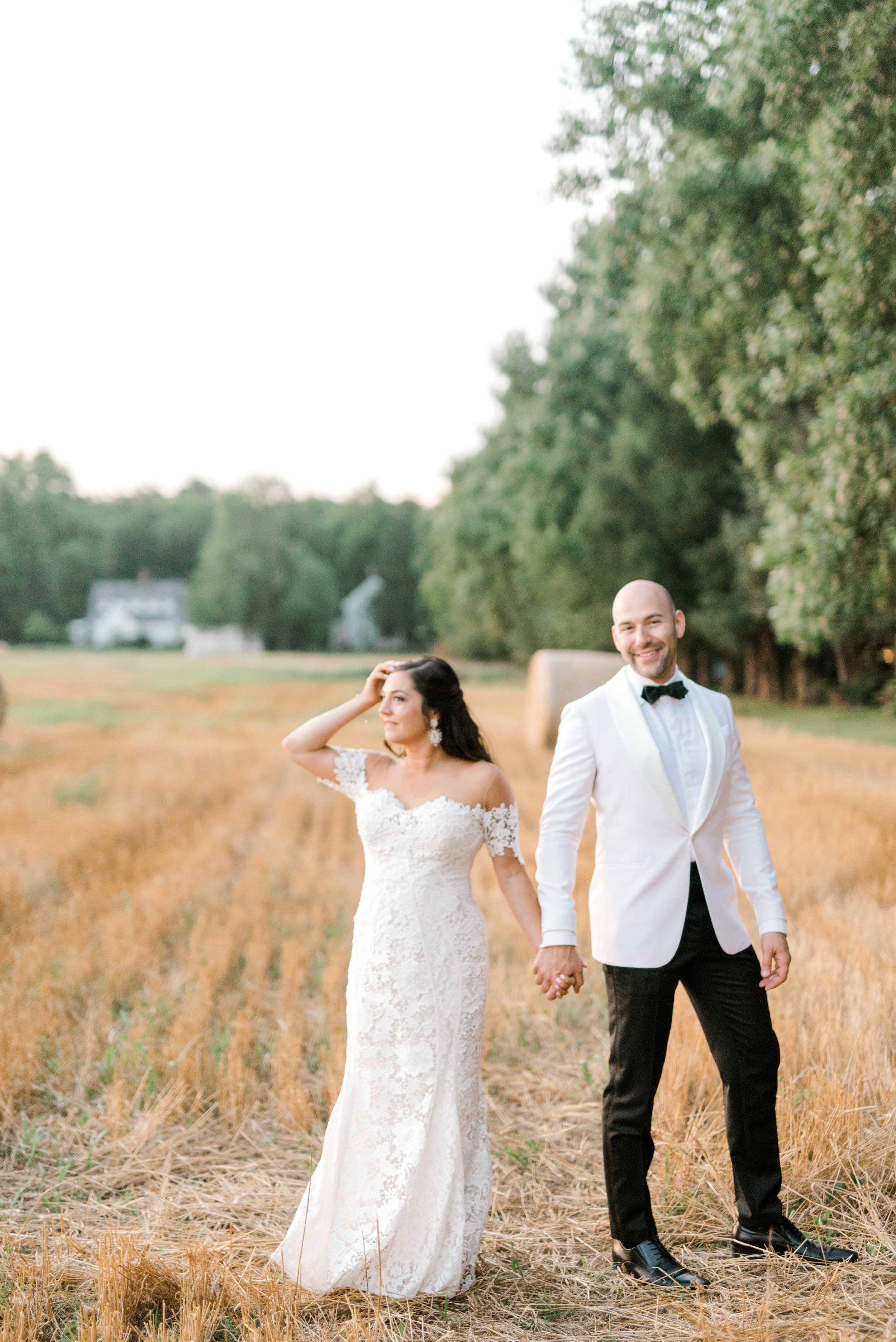 We a caught a little glimmer of the gorgeous sunset at Hotel du Village for Lindsey and James's bright and modern summer wedding day.